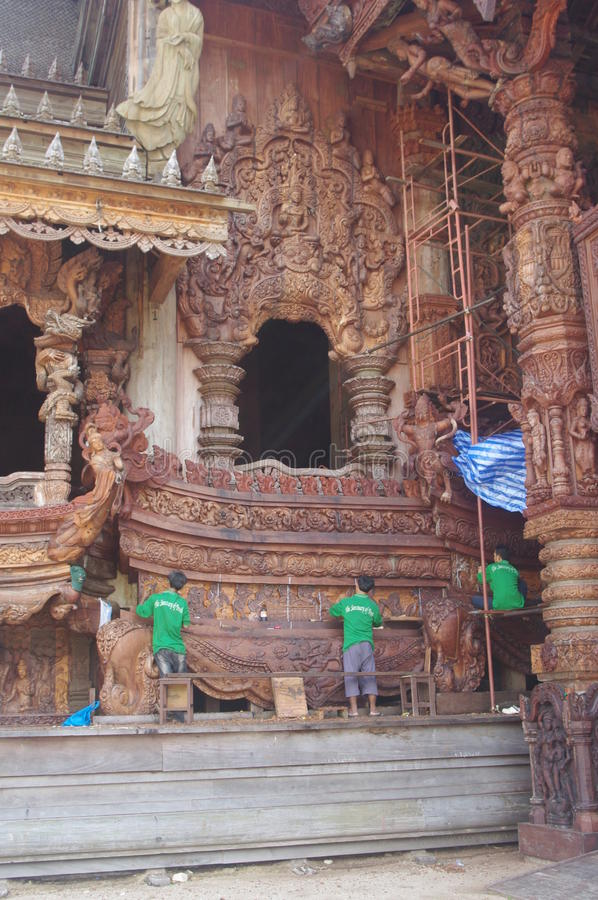 Construction of the wooden temple stock photography