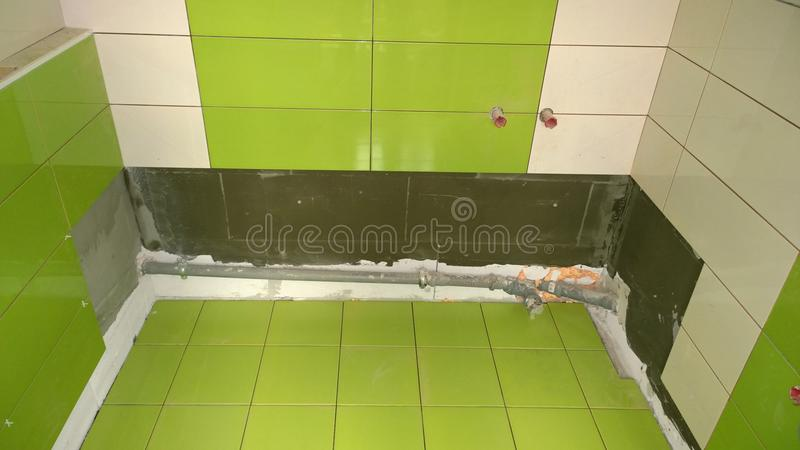 Download Construction Work In The Apartment, Installation Of Tiles On The Stock Image - Image: 80696461