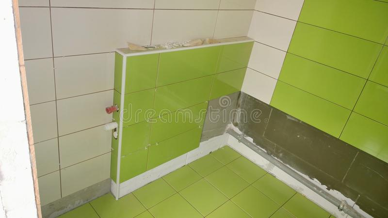 Download Construction Work In The Apartment, Installation Of Tiles On The Stock Image - Image of fittings, installation: 80696545