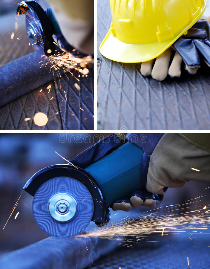 Construction work collage. Three images royalty free stock images
