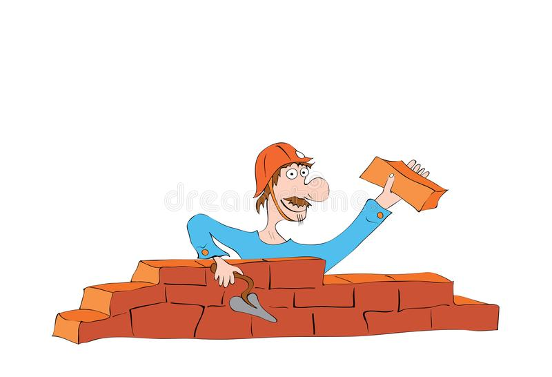 Construction work. Hilarious mustached builder in a helmet laying a wall of bricks stock illustration