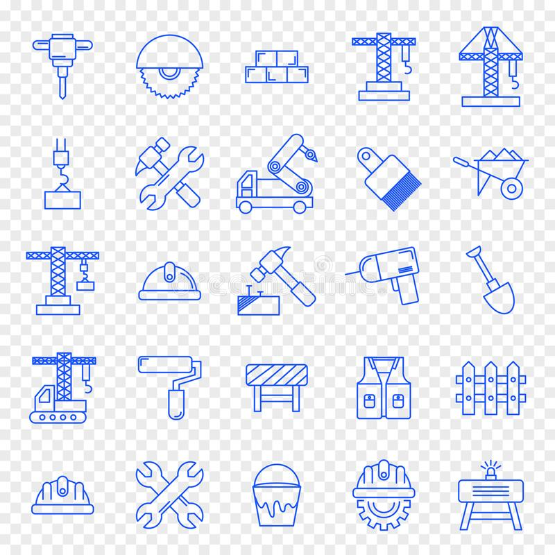 Construction Work Icon set. 25 Icons. 25 Icon set for Website and Application stock illustration