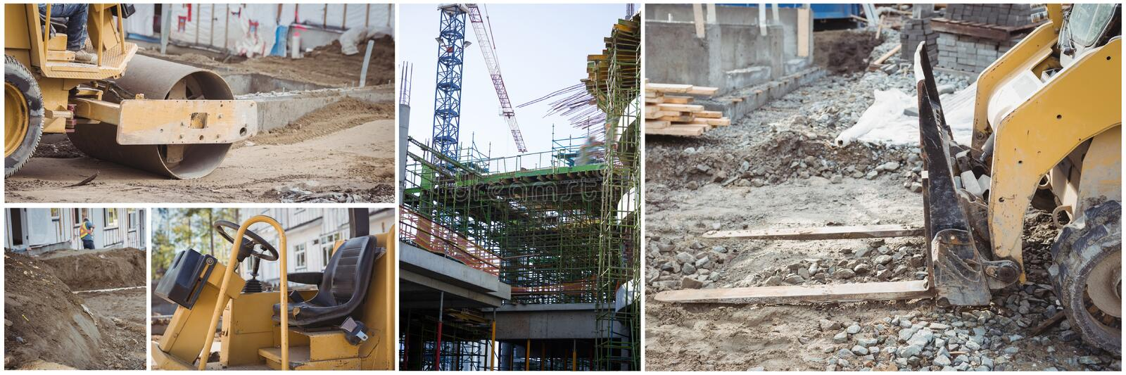 construction work machines collage royalty free stock photography