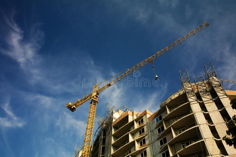 Construction work site. Low angle view stock photo