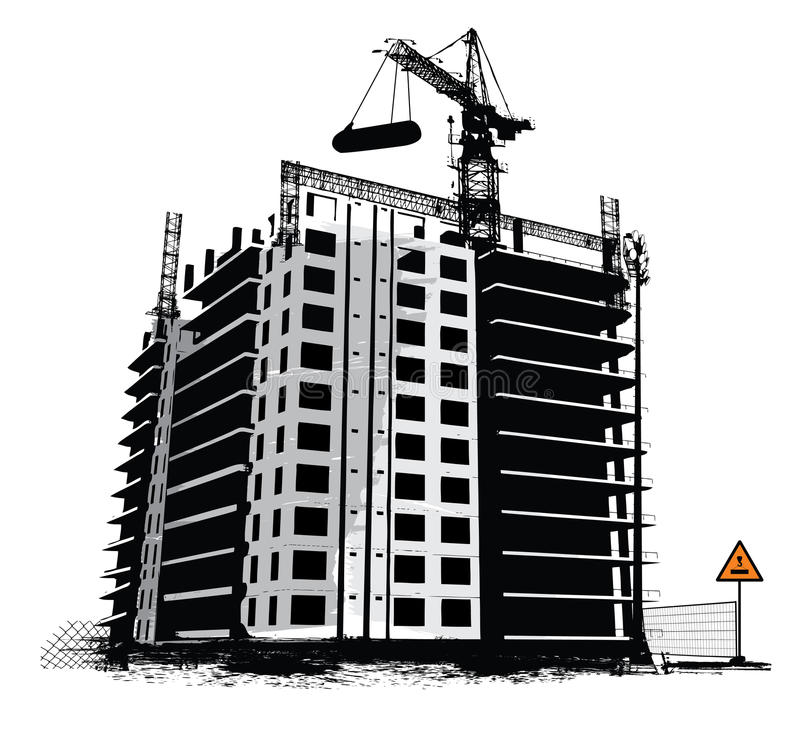 Construction work site. Industrial background stock illustration