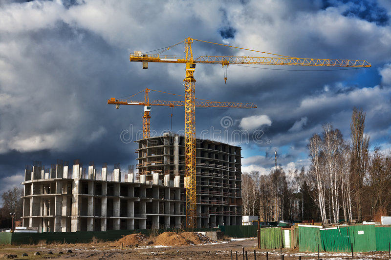 Construction work site. In winter stock photo