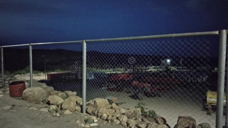 Construction work site camp night time royalty free stock photo