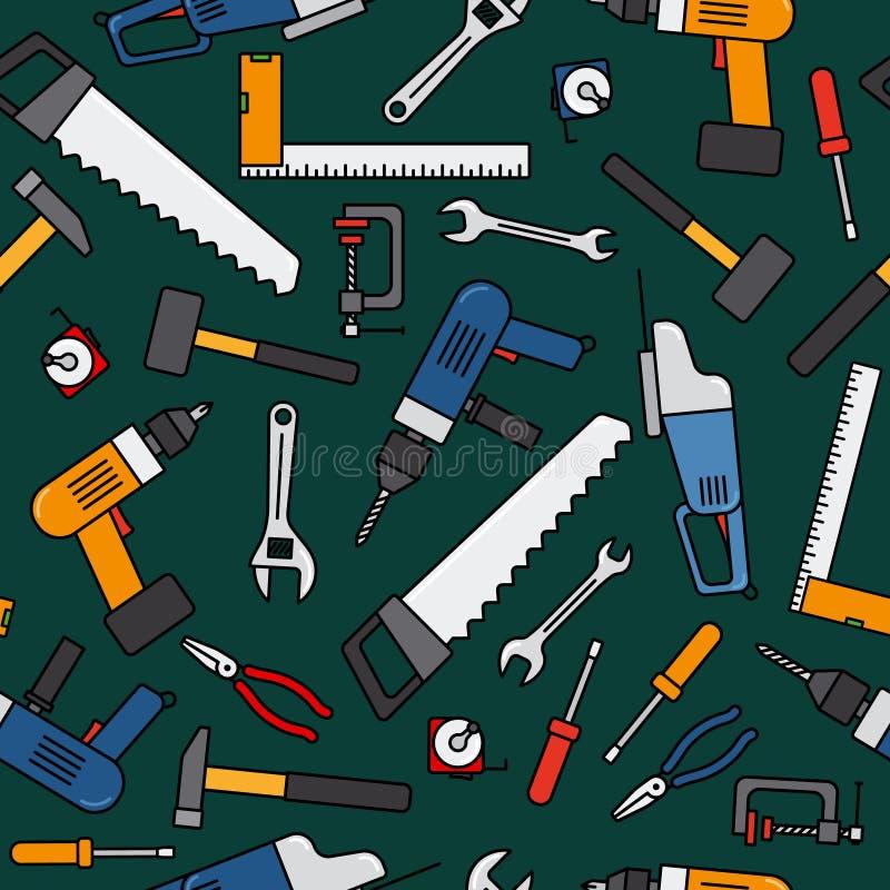 Construction work tools pattern vector illustration