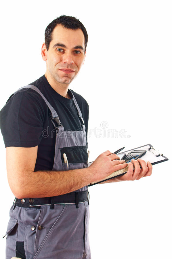 Construction Worker. Make records isolated on a white background stock photos