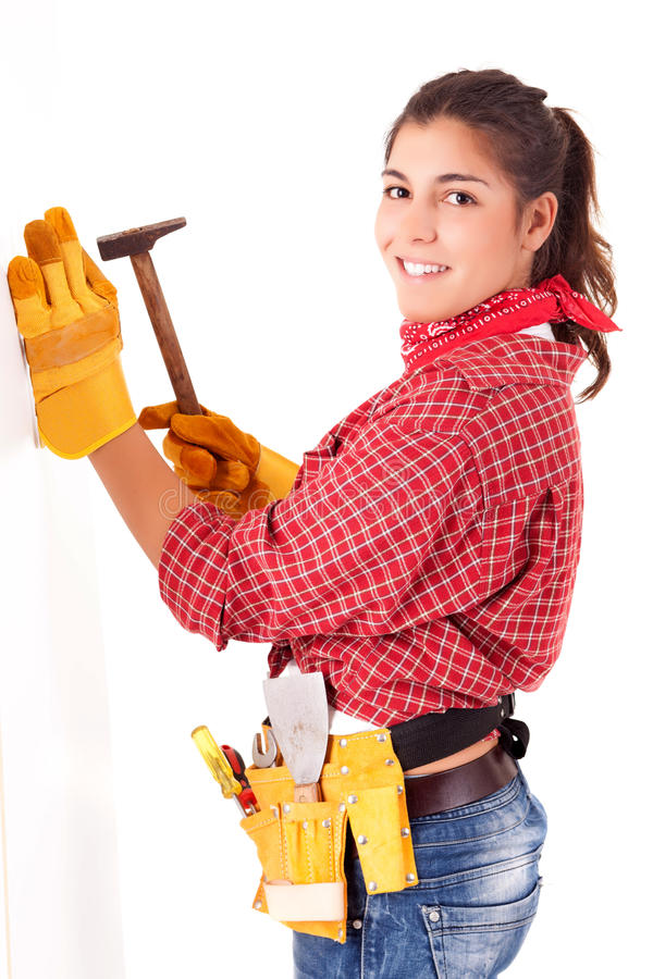 Construction worker. Young woman construction worker royalty free stock photography
