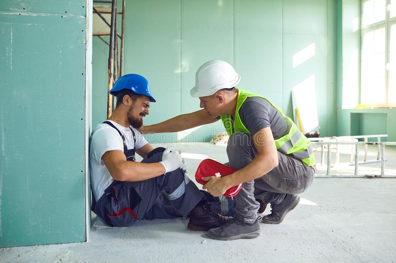 Construction worker accident with a construction worker. royalty free stock images
