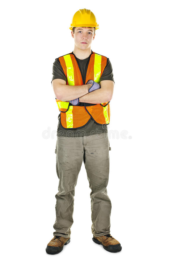 Construction worker with arms crossed royalty free stock image