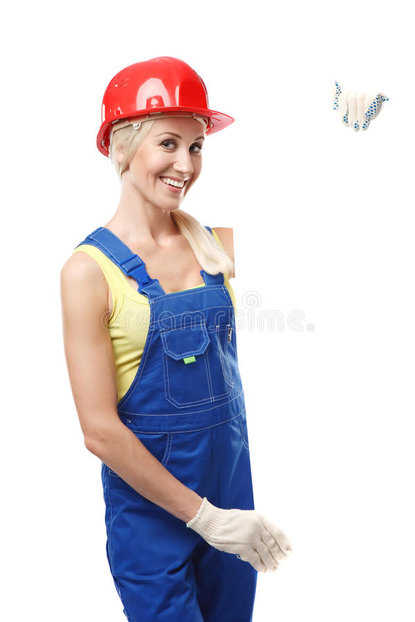 Construction worker with a blank sign royalty free stock photography