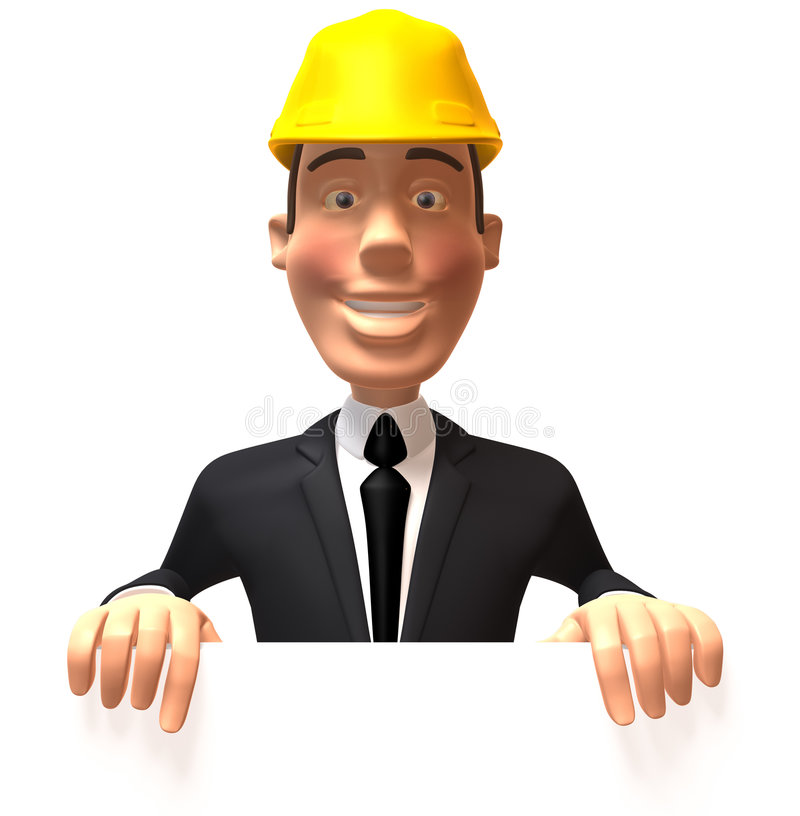 Download Construction Worker With A Blank Sign Stock Illustration - Illustration: 5540340