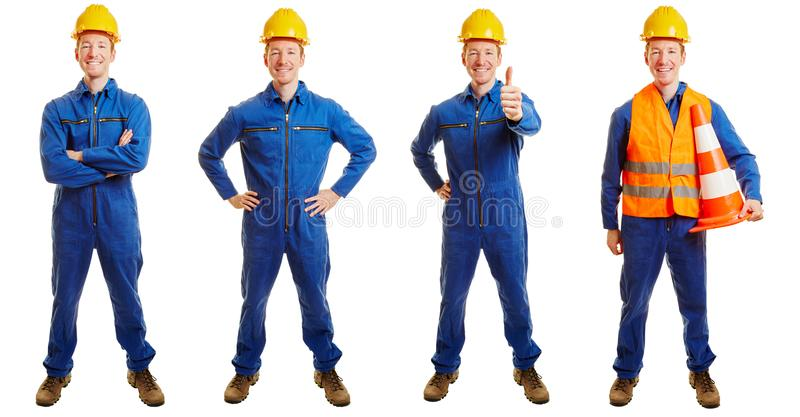 Construction worker in a blue collar suit royalty free stock image