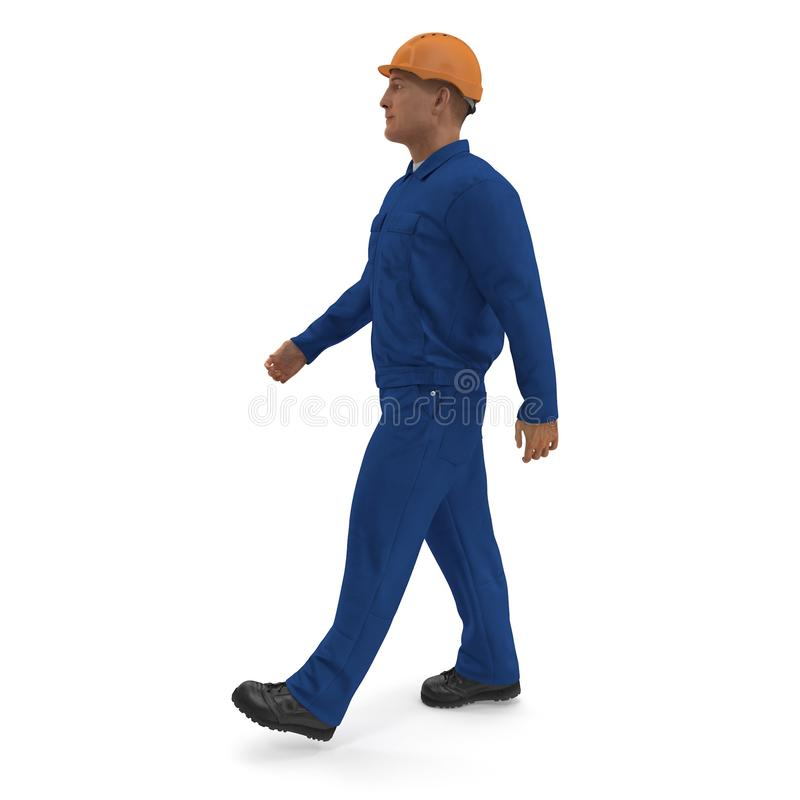 Construction Worker In Blue Coverall with Hardhat Standing Pose. 3D illustration, isolated, on white royalty free illustration