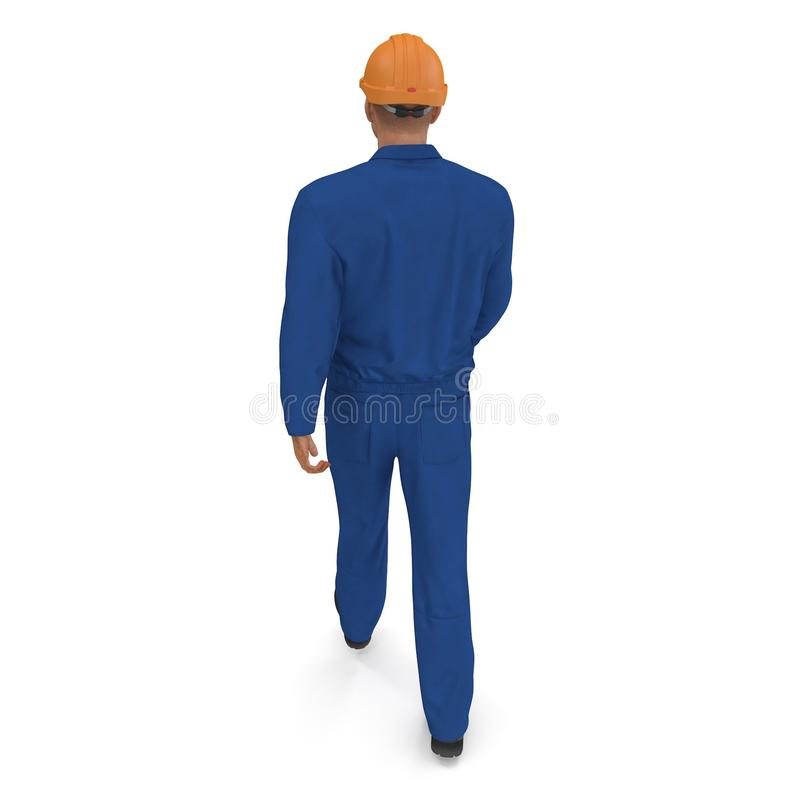 Construction Worker In Blue Coverall with Hardhat Standing Pose. 3D illustration, isolated, on white vector illustration