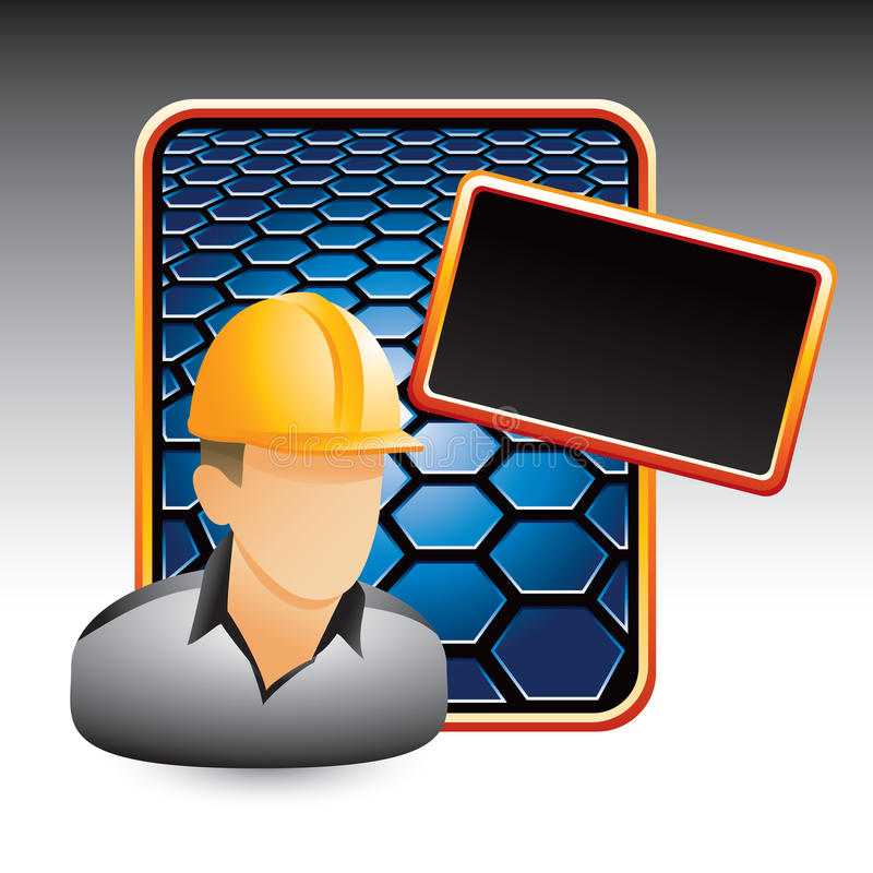 Download Construction Worker On Blue Hexagon Ad Stock Vector - Image: 11169790