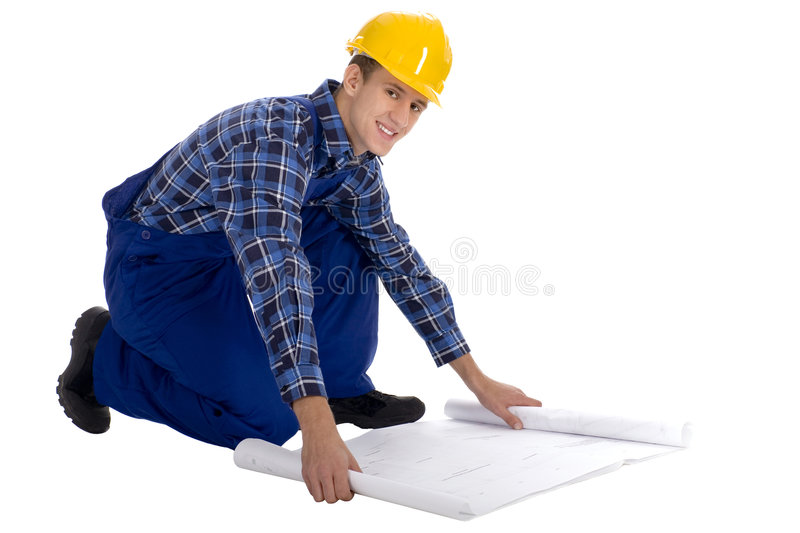 Construction worker with Blueprints royalty free stock photography