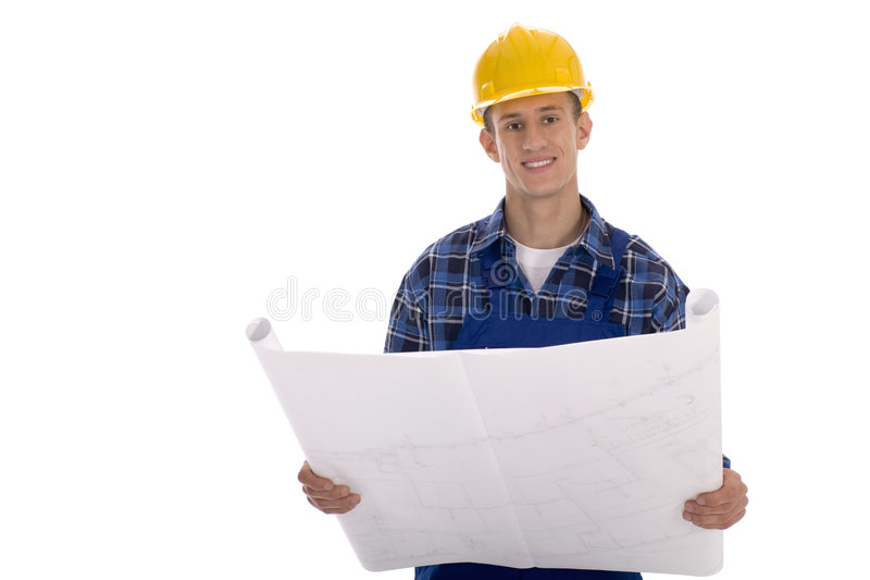 Construction Worker with Blueprints stock photo