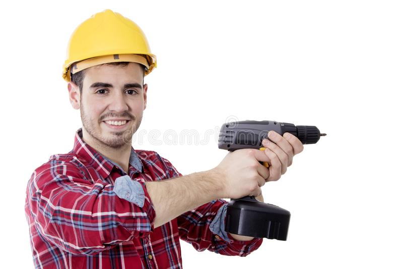 Construction worker and bricolage. With drill and space for text royalty free stock photo