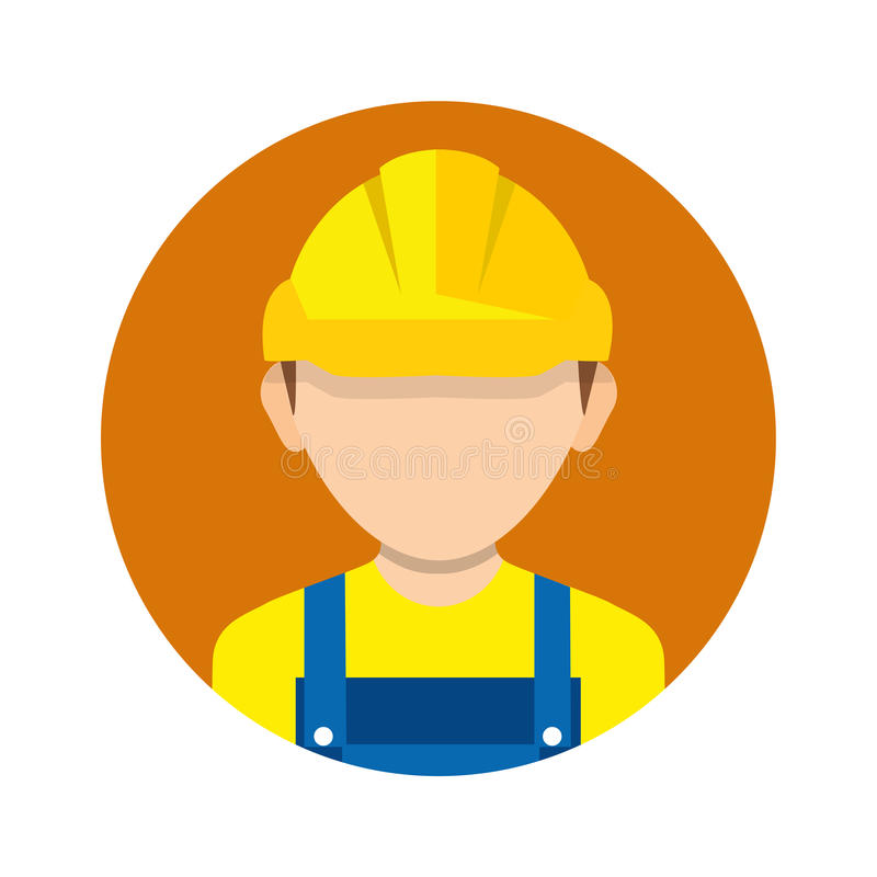 Construction worker, builder icon isolated on background. Worker. Worker wearing hard hat. Vector. Construction worker, builder icon isolated on background vector illustration