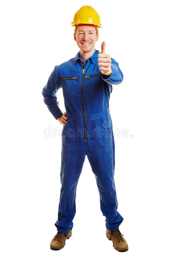 Construction worker holding thumbs up stock images