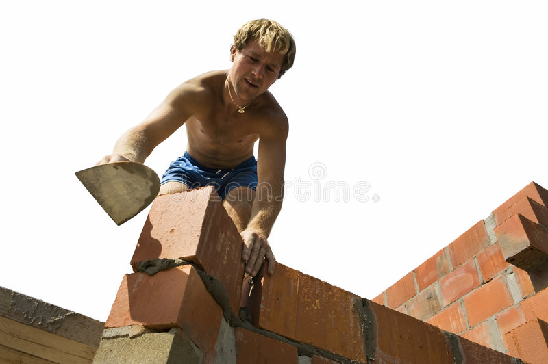 Construction worker building a wall royalty free stock photography