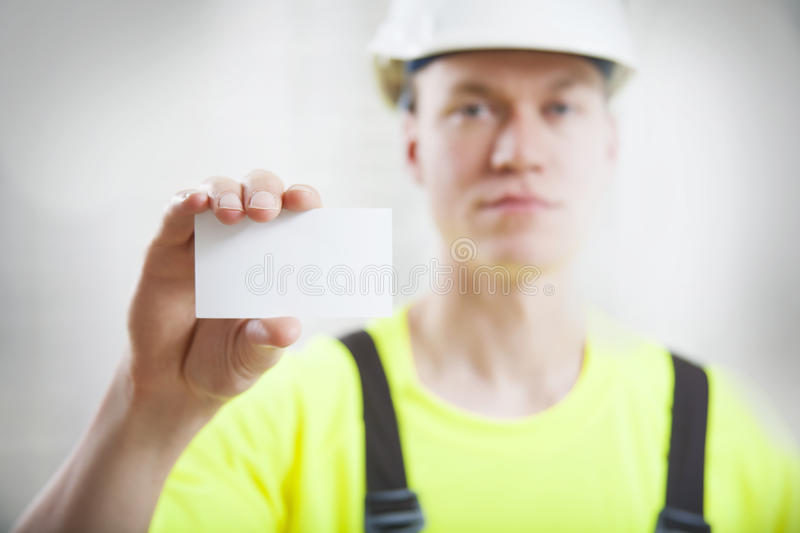 Construction worker business card royalty free stock photos