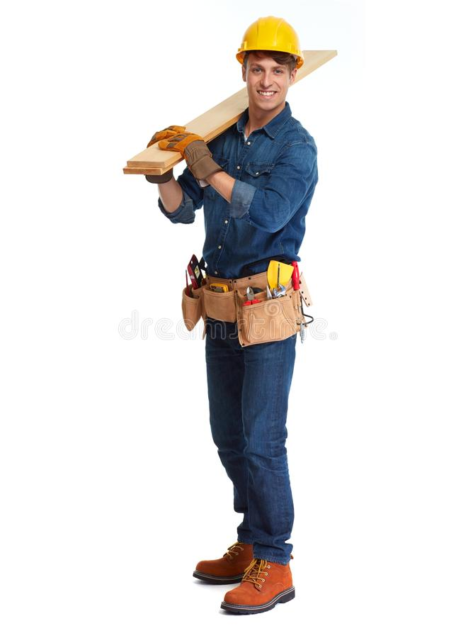 Construction worker. Carpenter construction worker with wooden plank isolated white background royalty free stock images