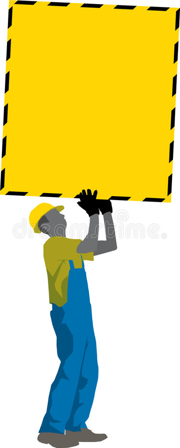 Construction Worker carry ads Poster stock illustration