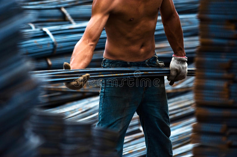 Download Construction Worker Carry Steel Stock Image - Image: 13187381