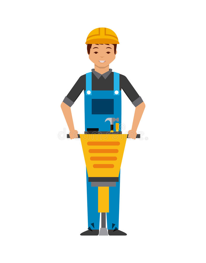 Construction worker cartoon icon. Over white background. colorful design. illustration stock illustration