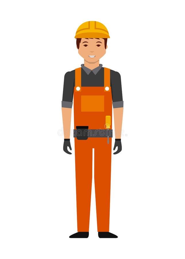 construction worker cartoon icon stock illustration
