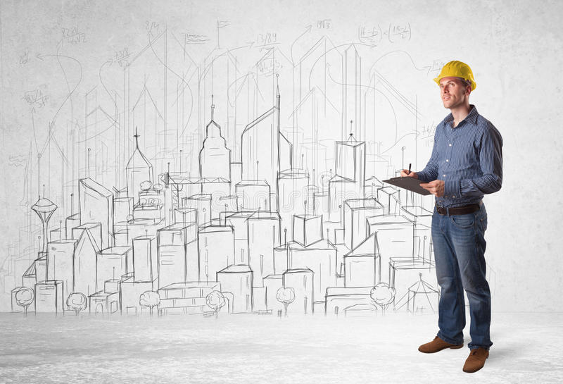 Construction worker with cityscape background royalty free stock images