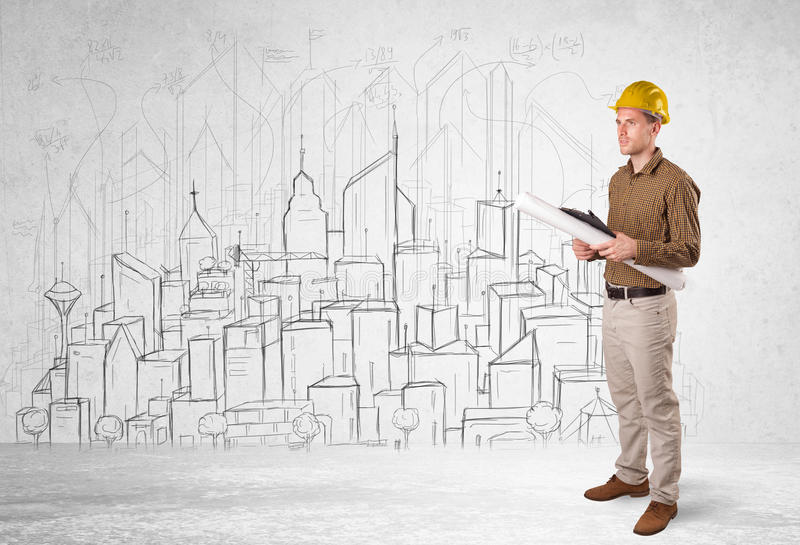 Construction worker with cityscape background. Drawing royalty free stock image