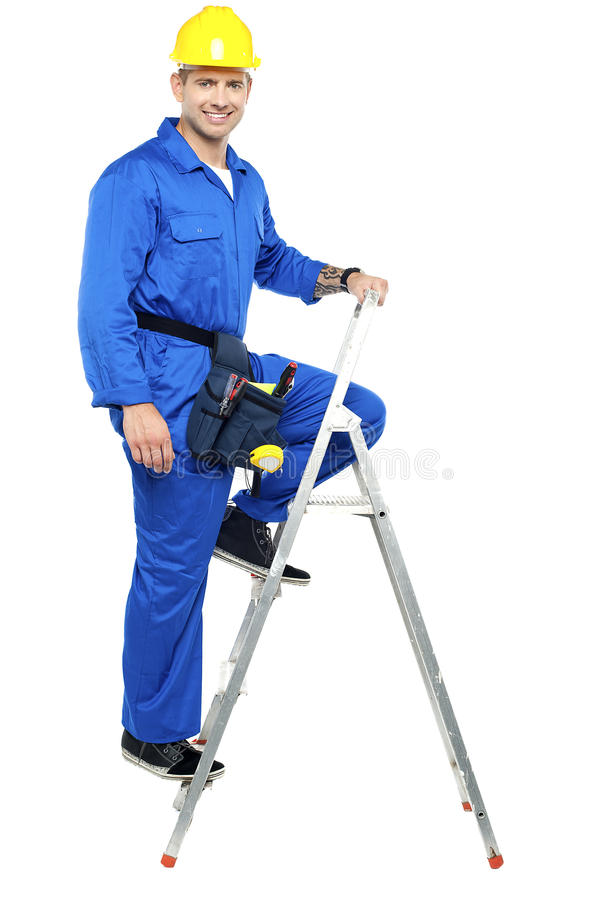 Download Construction Worker Climbing Up The Stepladder Stock Image - Image: 26683729