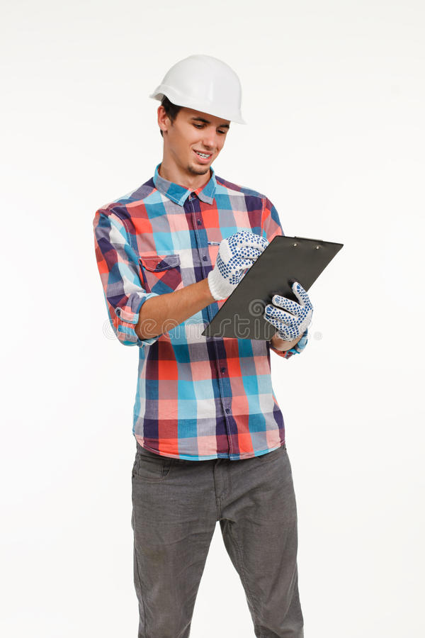 Construction worker with clipboard. stock photos