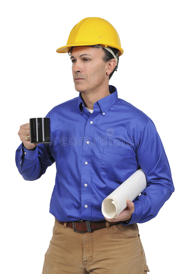 Construction worker with coffee royalty free stock photos
