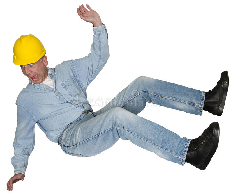 Construction Worker Contractor Falling, Accident, isolated stock photo