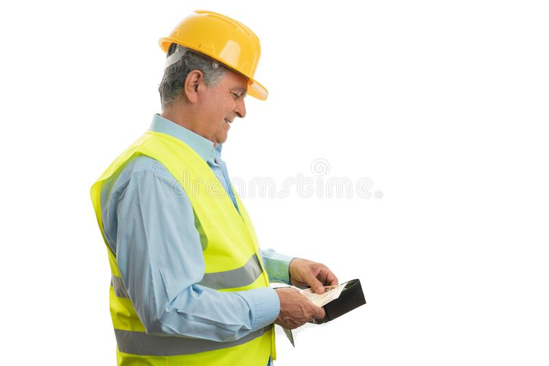 Construction worker counting money royalty free stock photo