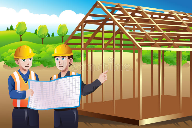 Construction worker discussing blueprint stock illustration
