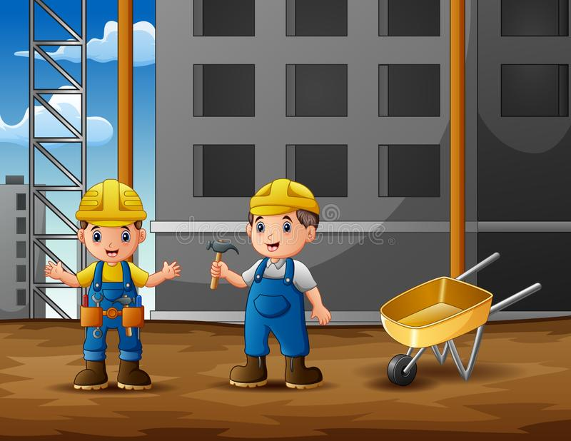 Construction worker discussion with manager at construction site background. Illustration royalty free illustration