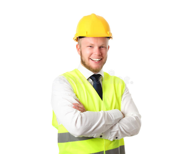 Construction worker with document stock image