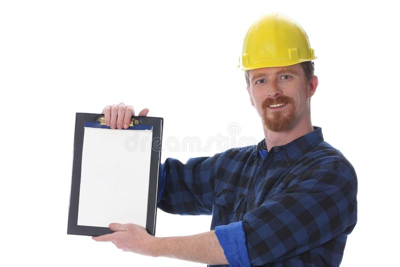 Construction worker with documents stock photos