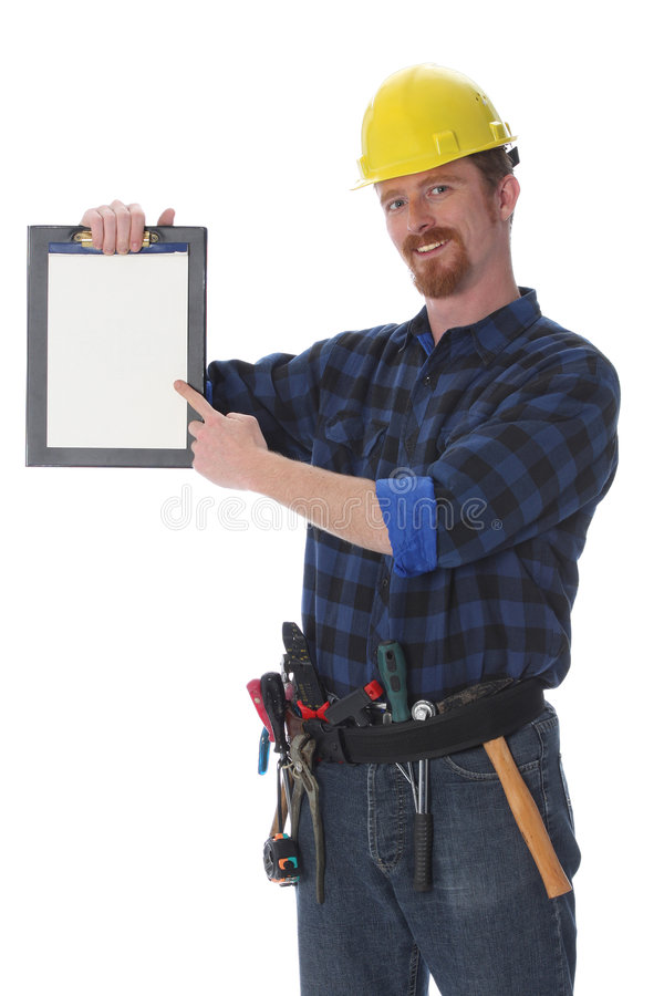 Construction worker with documents stock images