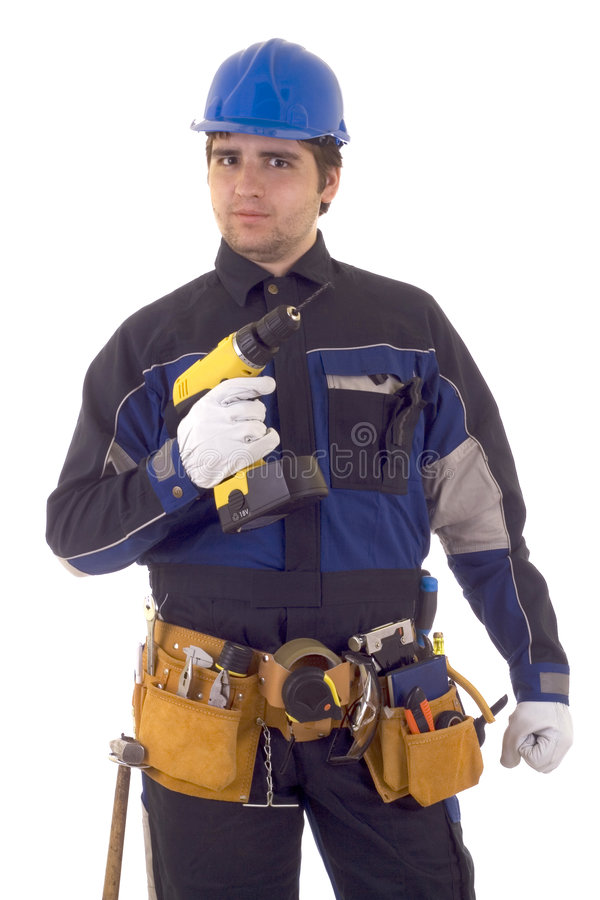 Construction worker with drill stock image