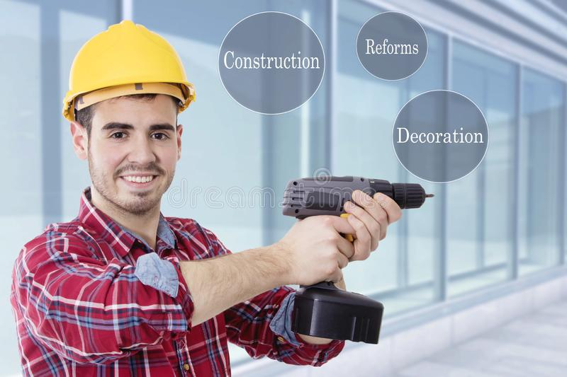 Concept of constructions and renovations stock images