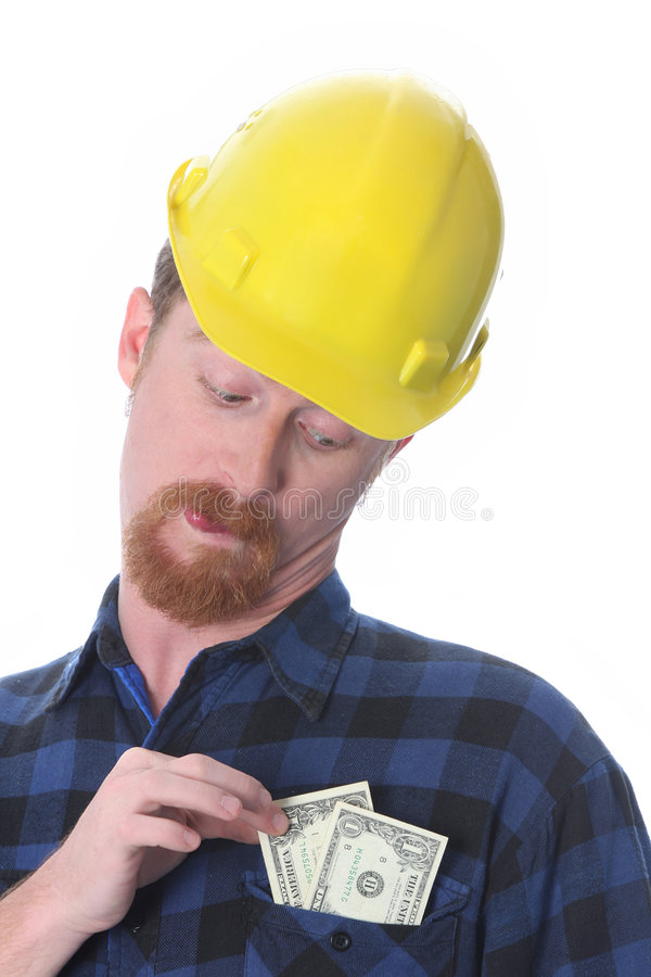 Construction worker with earnings royalty free stock images