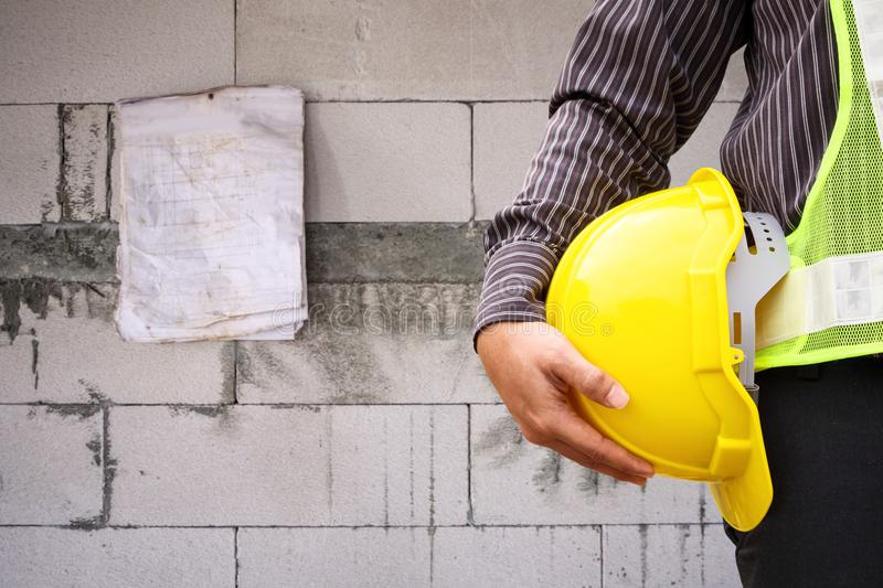 Construction worker engineer at construction site wall stock photos
